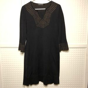 Peruvian Connection Split V Neck Tunic Dress